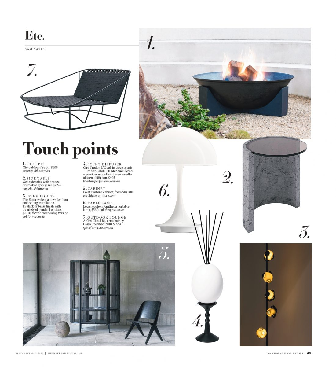 The Weekend Australian, Mansion Magazine - Geo Side Table
